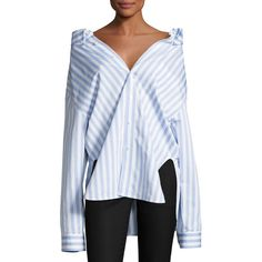 Balenciaga Striped Swing-Back Blouse ($855) ❤ liked on Polyvore featuring tops, blouses, women's apparel tops, off shoulder long sleeve top, long sleeve tops, striped blouse, striped top and oversized tops