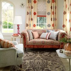 Bohemian style sofa sets the style for this laid back but luxurious livingroom.