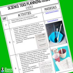 4th Grade Science TEKS Planning Guide: Energy from The Science Penguin -Three-week schedule of activities to teach students about forms of energy, thermal and electrical conductors and insulators, and closed circuits (Unit 4).