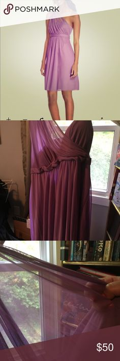 David's Bridal  Illusion Neck Dress Plus Size 24 Beautiful light purple, knee length, one shouldered dress from David's Bridal. Size 24. Worn once for a wedding, slight pull in the material that disappears in the fold of the dress. Willing to take a reasonable offer. David's Bridal Dresses One Shoulder