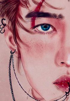 Orange Aesthetic, Aesthetic Boy, Kpop Drawings, Art Drawings, Lightstick Exo, Draw Logo, Exo Anime, Exo Fan Art, Kpop Fanart