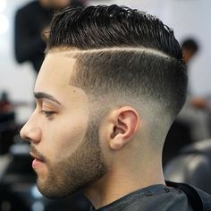 Low Fade with Hard Part and Quiff