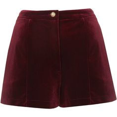 TOPSHOP Velvet Shorts ($22) ❤ liked on Polyvore featuring shorts, bottoms, pants, topshop, velvet, burgundy, topshop shorts, velvet shorts and burgundy shorts