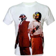 Lectro Men's Daft Punk Duo DJ Techno Music T-Shirt V2 White Medium