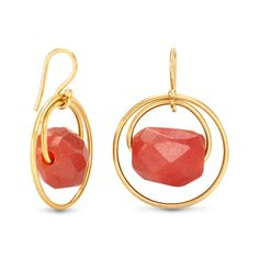 Vermeil Eugenia By TOUS Cercle collection earrings with orange agates. (Vermeil: 18kt gold-plated sterling silver).TOUS WASHINGTON DC