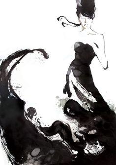Fashion illustration - stylish black & white fashion drawing; watercolour illustration // Yasunari Awazu