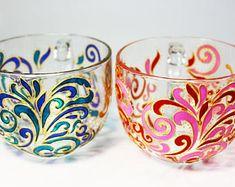 Big Mug, Cute Coffee Mugs, Pattern for Lovers Hand Painted Glass Mug Unique Gift Tea Cup Personalized Mug Bride and Grom Funny Mugs