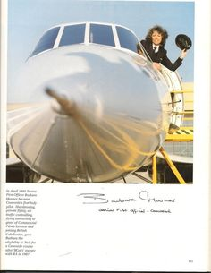 First Woman Pilot of the Concorde Barbara Hamer (Passed away last year ).   Page from Concorde booke signed on board G-BOAA JFK-LHR 1999