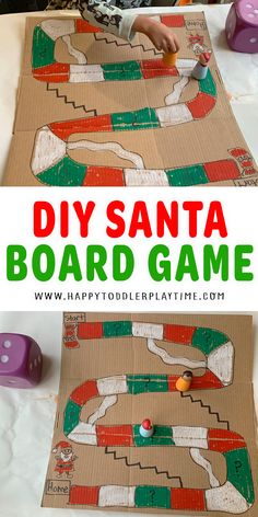 DIY Santa Board Game for Christmas - HAPPY TODDLER PLAYTIME Christmas Board Games, Christmas Activities For Kids, Indoor Activities For Kids, Christmas Themes, Preschool Activities, Christmas Crafts, Creative Activities, Christmas Goodies, Family Activities