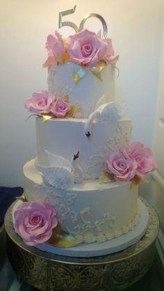 * 50 years of marriage! Chocolate Cake, Whipped Chocolate Ganache, White Chocolate Swiss Buttercream!
