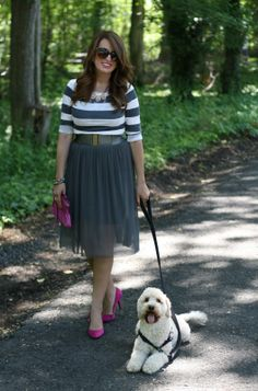 Tulle Skirt Dress, Striped Top, Pink Accessories, Mumford the Cockapoo