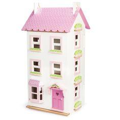 """Holzpuppenhaus """"Viktoria"""" bringt in rosa und süßen Details Mädchenaugen zum Strahlen. Neugierig? Puppenhaus aus Holz online bei Nostalgie im Kinderzimmer!"""