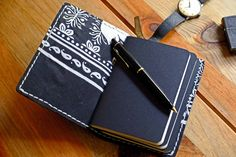 """New Heritage collection Notebooks cover from """"SONIUM LEATHER"""". Black leather and black/white fabric."""