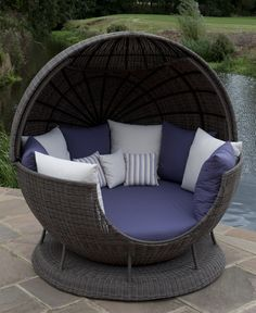 Atlanta All Weather Globe with the roof open. Fabric Shown: Durban Violet and Durban Canvas (Large Scatters) Natal Violet and Durban Canvas (Small Scatters). Frame Shown: Dark Brown