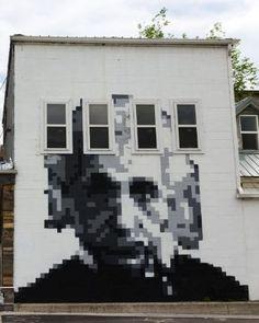 Einstein's pixellated portraits in downtown Provo.