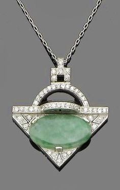 An art deco onyx, jade and diamond pendant necklace