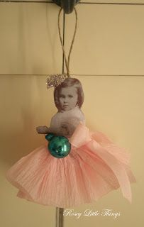 Vintage Little Girl Ornament; also cute idea to use photo prints of family members