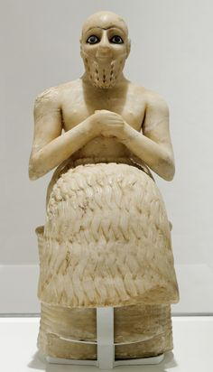 The 25th-century BC statue of the praying figure of Ebih-Il, superintendent of the ancient city-state of Mari in eastern Syria. The figure's only dress is the Sumerian-style ceremonial kaunakes skirt. It is made of gypsum, with inlays of schist, shells and lapis lazuli. The lapis lazuli inlays used were imported from as far east as Afghanistan.