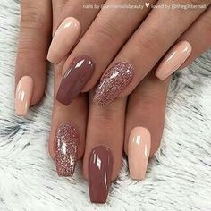There are three kinds of fake nails which all come from the family of plastics. Acrylic nails are a liquid and powder mix. They are mixed in front of you and then they are brushed onto your nails and shaped. These nails are air dried. Cute Acrylic Nails, Acrylic Nail Designs, Cute Nails, Pretty Nails, Acrylic Nails Almond Glitter, Winter Acrylic Nails, Gel Polish Designs, Gold Nail Art, Metallic Nails