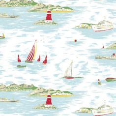 Wallpaper Desktop Vintage Inspiration Cath Kidston New Ideas Seaside Wallpaper, Boat Wallpaper, Wallpaper Computer, Free Desktop Wallpaper, Bathroom Wallpaper, Live Wallpapers, Cath Kidston Wallpaper, Decoupage, Conversational Prints