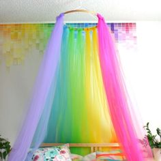 DIY Rainbow Canopy - Love this idea for a unicorn birthday party tent or backgro . In DIY Rainbow Canopy, you love this idea for a unicorn birthday party tent or behind the party table , DIY Rainbow Canopy - love this idea for a unic. Unicorn Room Decor, Unicorn Rooms, Unicorn Bedroom, Unicorn Themed Room, Mermaid Room Decor, Unicorn Wall, Rainbow Bedroom, Rainbow Room Kids, Rainbow House
