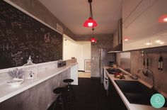 Why not incorporate a chalkboard in your kitchen and write down your favourite recipes? #chalkboard #hanginglight
