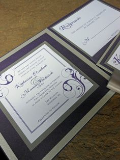 Square Pocketfold Wedding Invitation  Purple Silver by J2ADesigns, $5.00