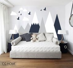 Our decal is made of high quality, self-adhesive, waterproof and matte vinyl. Can be cleaned and very easy to install. You can apply the decals to any clean, smooth, flat and semi textured surface. COLOR: Made in 3 colors from CGhome color card. After purchasing please write us list of your colors. SIZE The overall size of the mountain wall decal is approximately: 48 x 98 (about 125cm x250cm) + clouds and birds 60 x 98 (about 153cm x250cm) + clouds and birds 60 x 107 (about 153cm x272cm)…