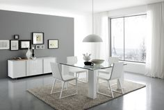 Modern White Dining Room Displaying Dark Grey Walls Paints Scheme Together With Attractive Square Clear Glass Dining Table And White Metal Dining Chairs On Area Grey Rugs Plus Cool White Pendant Lighting As Well As Leather Dining Room Chairs Also Modern Dining Room Sets of Awesome Excellent Dining Room Design With A Wide Selection Of Styles To Suit Your Taste  from Dining Room Ideas