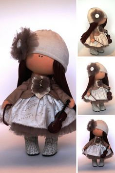 Rag doll Fabric doll Summer doll handmade brown color Soft doll Cloth doll Baby…