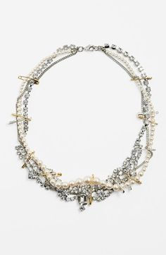 Free shipping and returns on Tom Binns 'Pearls in Peril' Necklace at Nordstrom.com. Gold and silver safety pins connect heirloom strands of crystal pearls and decadent crystal jewels in a tradition-bucking collar necklace. $765