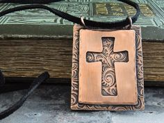 Etched Copper Cross Necklace Christian Jewelry by ATwistOfWhimsy, $64.00