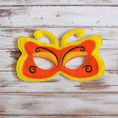 Máscara amarilla de la mariposa - Fieltro - Niños Máscara - Traje - El juego imaginativo - Vestir - Favor de partido