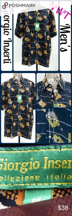 "NWTSz XL Casual Shirt By GIORGIO INSERTI, SS Sport Casual Shirt By GIORGIO INSERTI, Short Sleeves , Soft Silky 100% Microfiber, Fashion Design Print, Soft and Comfortable, Light Weight, Ideal to wear with Jeans or Dress Pants Measurements: Sz Xl Chest (underarm to underarm) 26"", Length -32"" (T61) Giorgio Inserti Shirts Casual Button Down Shirts"