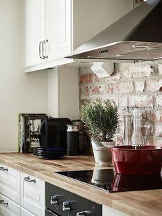 exposed brick kitchen - Lilly is Love Kitchen Room Design, Home Decor Kitchen, Kitchen Interior, Home Kitchens, Brick Tiles Kitchen, Exposed Brick Kitchen, Backsplash For White Cabinets, White Kitchen Cabinets, Brick And Wood