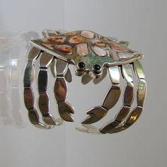 Mexican Sterling Silver  Figural Crab Wide Cuff by TaxcoTreasures