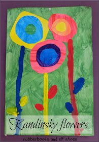 Kandinsky-inspired flowers. Learning opportunity for colors & how they mix to form new colors, sizes (small, medium, large) and about an influential modern artist.