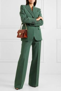 Givenchy checked wool straight-leg pants net-a-porter. Business Dress, Business Chic, Business Attire, Business Professional, Summer Professional, Power Dressing, Mode Outfits, Office Outfits, Office Attire