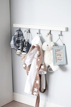 in childrens bedroom, hang up favorites from baby/toddler years