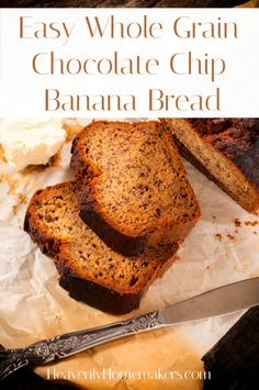 Here's a recipe for Whole Grain Chocolate Chip Banana Bread that you will love! There's a secret ingredient that makes it super wonderful. (Well sure, chocolate chips, but something else too! Chocolate Chip Banana Bread, Chocolate Chips, Freezer Cooking, Freezer Recipes, Beef And Rice, Make Ahead Meals, Frozen Meals, Bread Baking, Heavenly