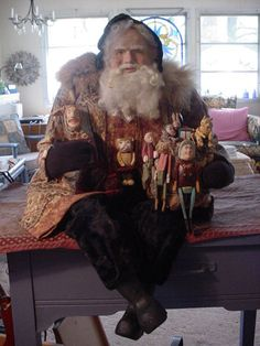 "Norma DeCamp Lg Seated Full 30"" Santa, Tapestry, large bag of toys & Jack in box"