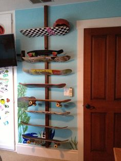 Skateboard Deck Wall Storage Rack by StarkyWorkshop on Etsy, $49.00