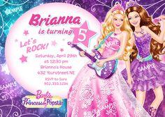 Barbie Princess and the Popstar Invitation for Birthday Party - Digital Printable File. $12.99, via Etsy.