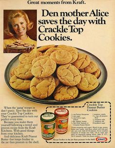 Vintage Recipe 1970s recipe for Crackle Top Peanut Butter Cookies