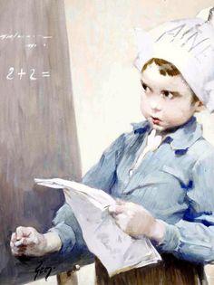 Resolvendo o problema, s/d Henri-Jules-Jean Geoffroy (conhecido como Geo) (França, 1853-1924) óleo sobre tela -
