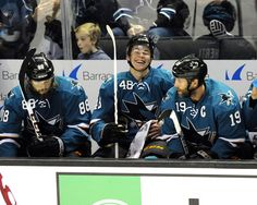 San Jose Sharks rookie forward Tomas Hertl is all smiles after his first period goal (Oct. 12, 2013).