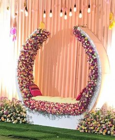 U shape floral decor for mehendi. Wedding Backdrop Design, Desi Wedding Decor, Wedding Stage Design, Wedding Hall Decorations, Luxury Wedding Decor, Backdrop Decorations, Party Decoration, Background Decoration, Indian Wedding Stage