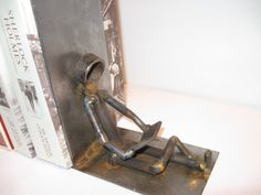 Welded bookend is durable and clean. They are sandblasted and spray-painted. I attach a piece of felt to the bottom of the bookends so it doesnt