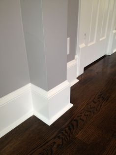 """Historic trim details. Our baseboards are actual wood (not speedboard or pressboard). They include an 8"""" baseboard, a separate base cap, and a 1/4 round foot, just as houses from the 1920's typically had. #WoodworkTrimAroundDoorsAndFloors"""
