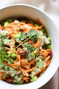 Green Curry Sweet Potato Noodle Bowls #glutenfree #vegan #vegetablenoodles